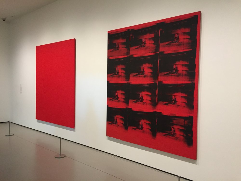 Andy Warhol, Red Disaster, 1963, 1985, Silkscreen on canvas, two panels.