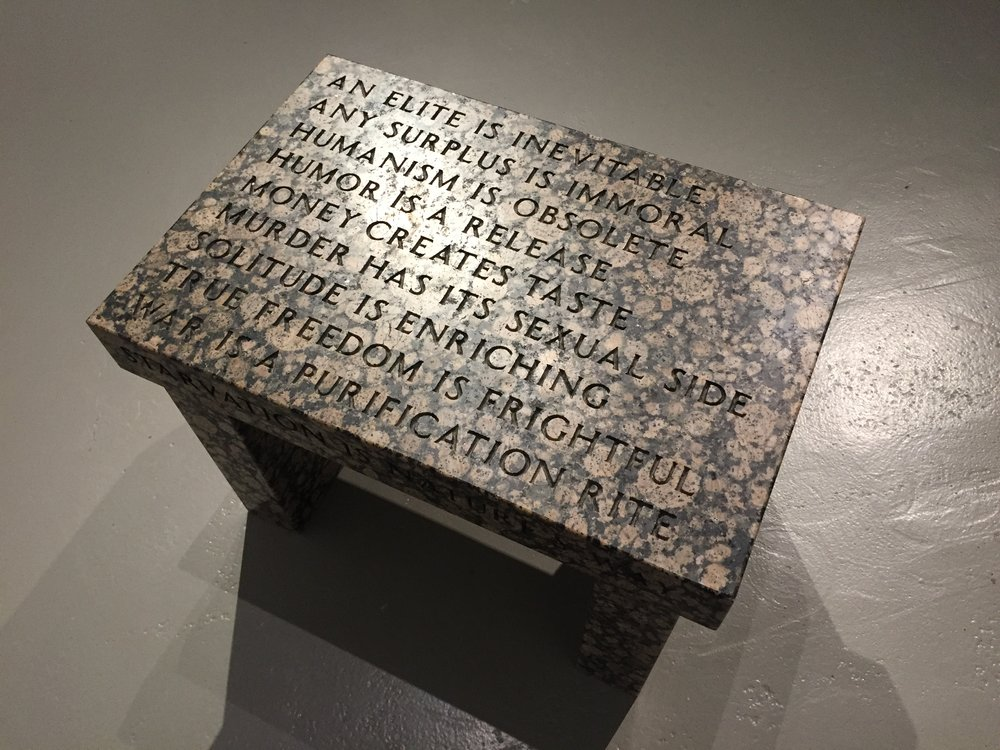 Jenny Holzer, Truism Footstool, 1988, Baltic brown granite