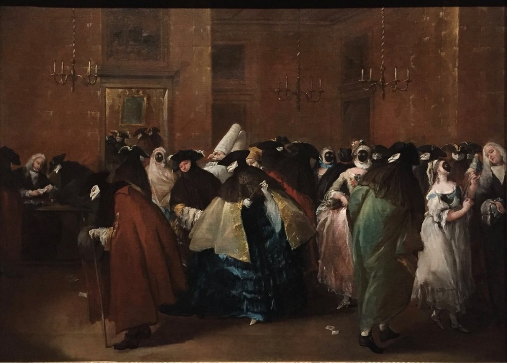 Francesco Guardi,  Ladies and Gentlemen in Carnival Costume in the Ridotto, Venice,  1712-1793, Oil on canvas