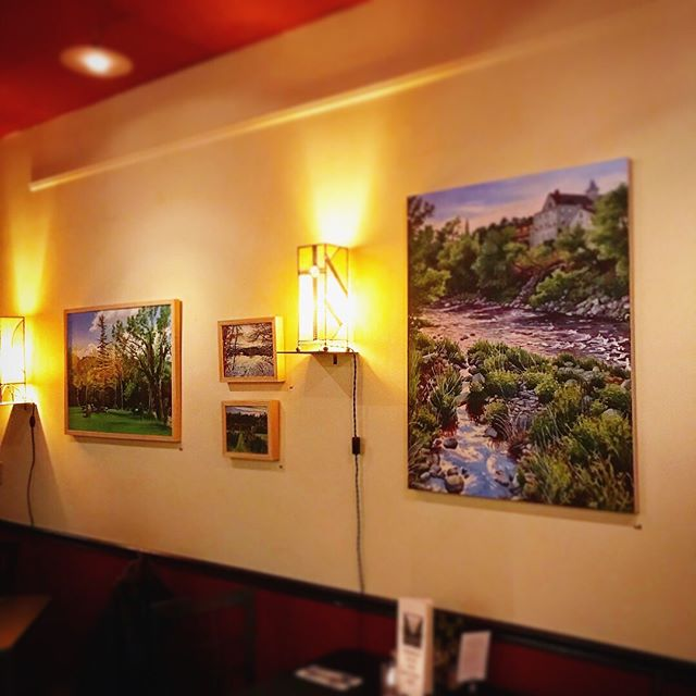Dinner @coldmountaincafe tonight. Had the bibimbap and the little dates wrapped in bacon.  My work is up on the walls right now, and one painting already sold.  #coldmountaincafe #art #bethlehemnh #painting #paintings #artistlife