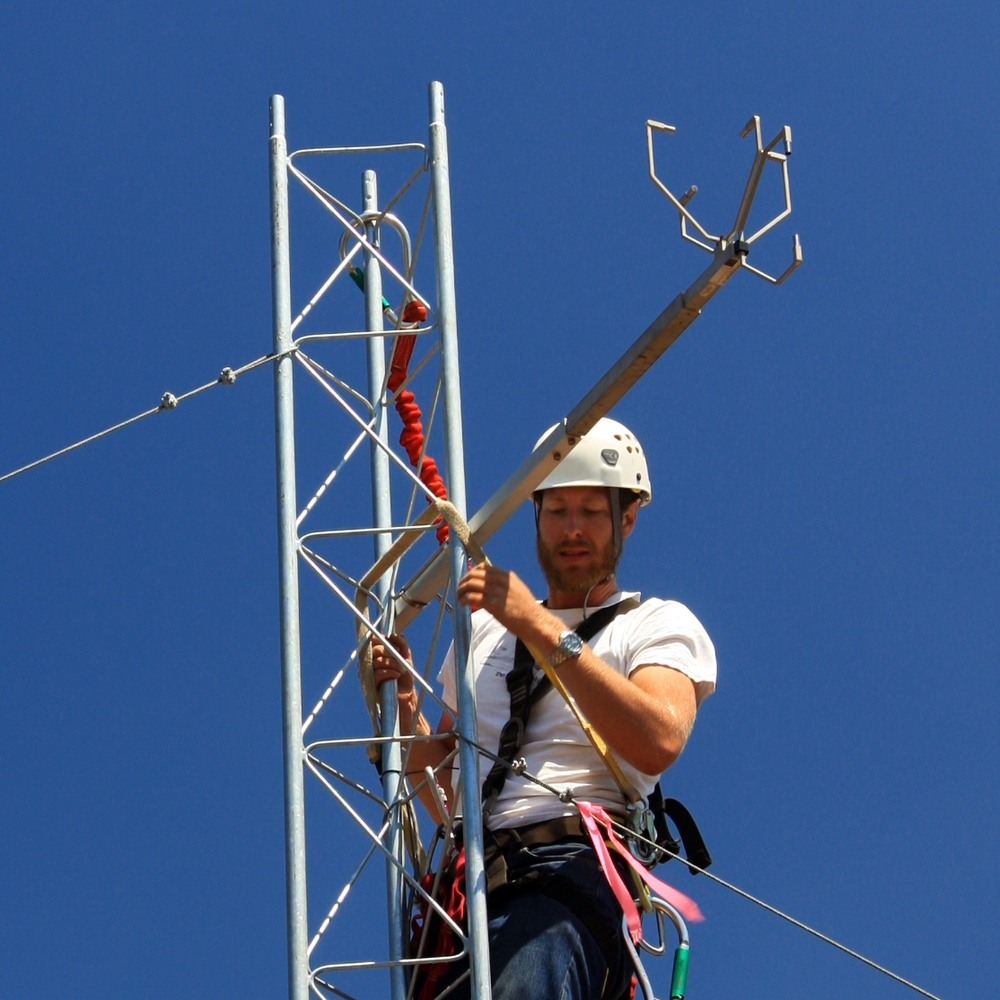 Richard installing a 3-d sonic anemometer.