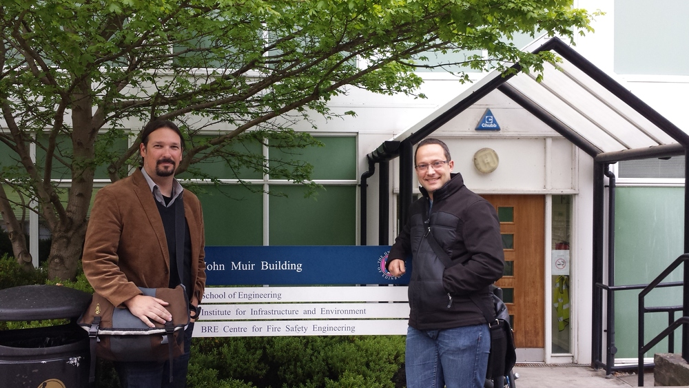 Prof. Clements (left) and Prof. Simeoni (right)  in front of the lab building at the university of Edinburgh, kings buildings. May 2015