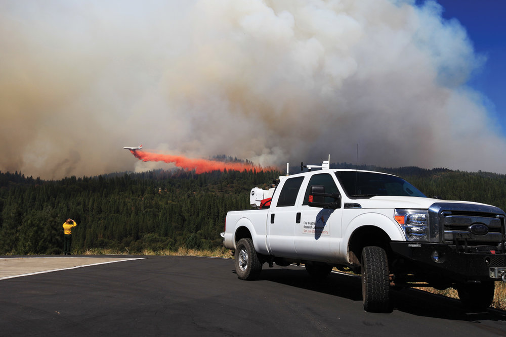 scanning the 2014 king fire with doppler lidar as vlat drops fire retardant ahead of fire front