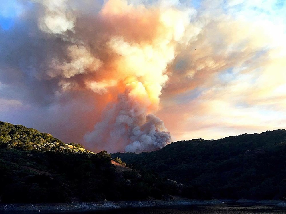 View of 2016 loma fire from research vehicle