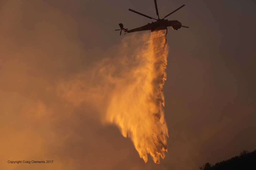 water drop on Detwiler Fire, Mariposa, California, 2017.