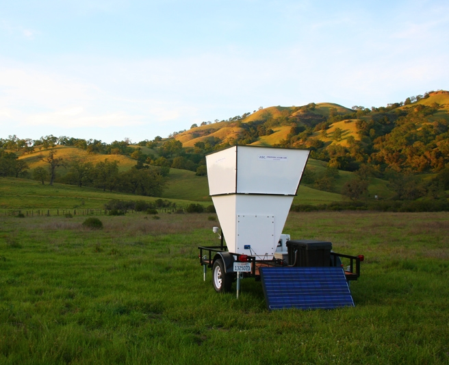 SJSU's Doppler Sodar deployed for measuring vertical wind profiles in a mountain valley.