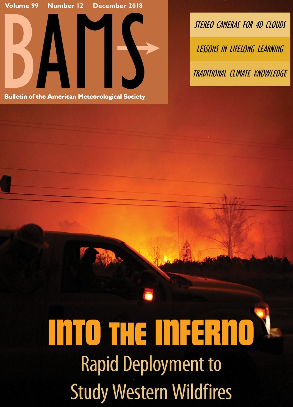 Cover photo of the Camp fire on the Bulletin of the American Meteorological Society