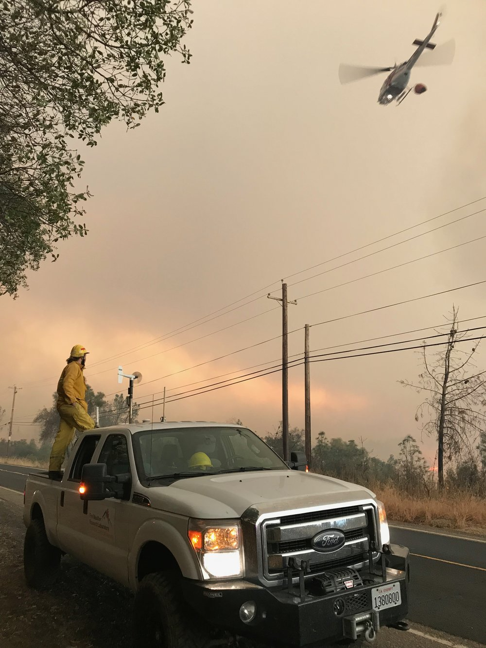 Conducting wind profile measurements at the camp fire, nov. 8 2018.