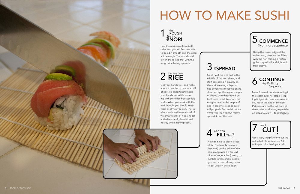 Spread 3: Seven steps to make sushi