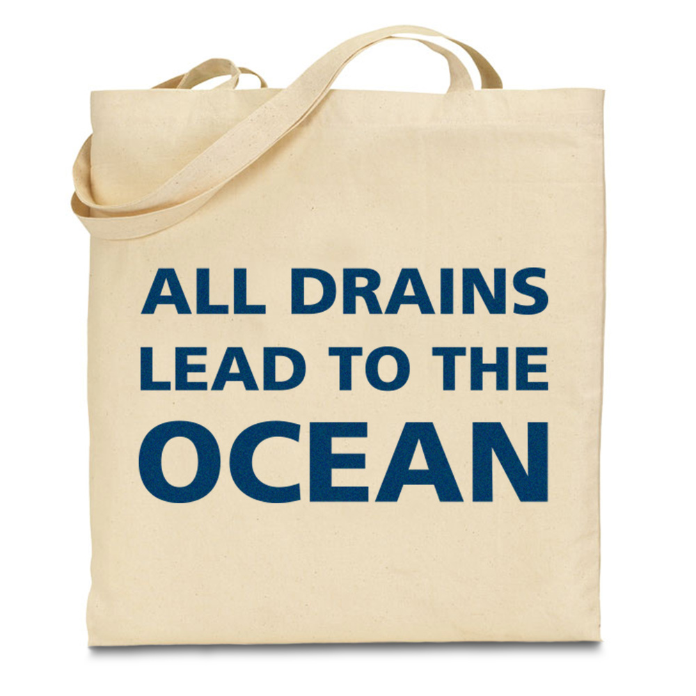 Campaign slogan printed on an eco-friendly canvas bag.