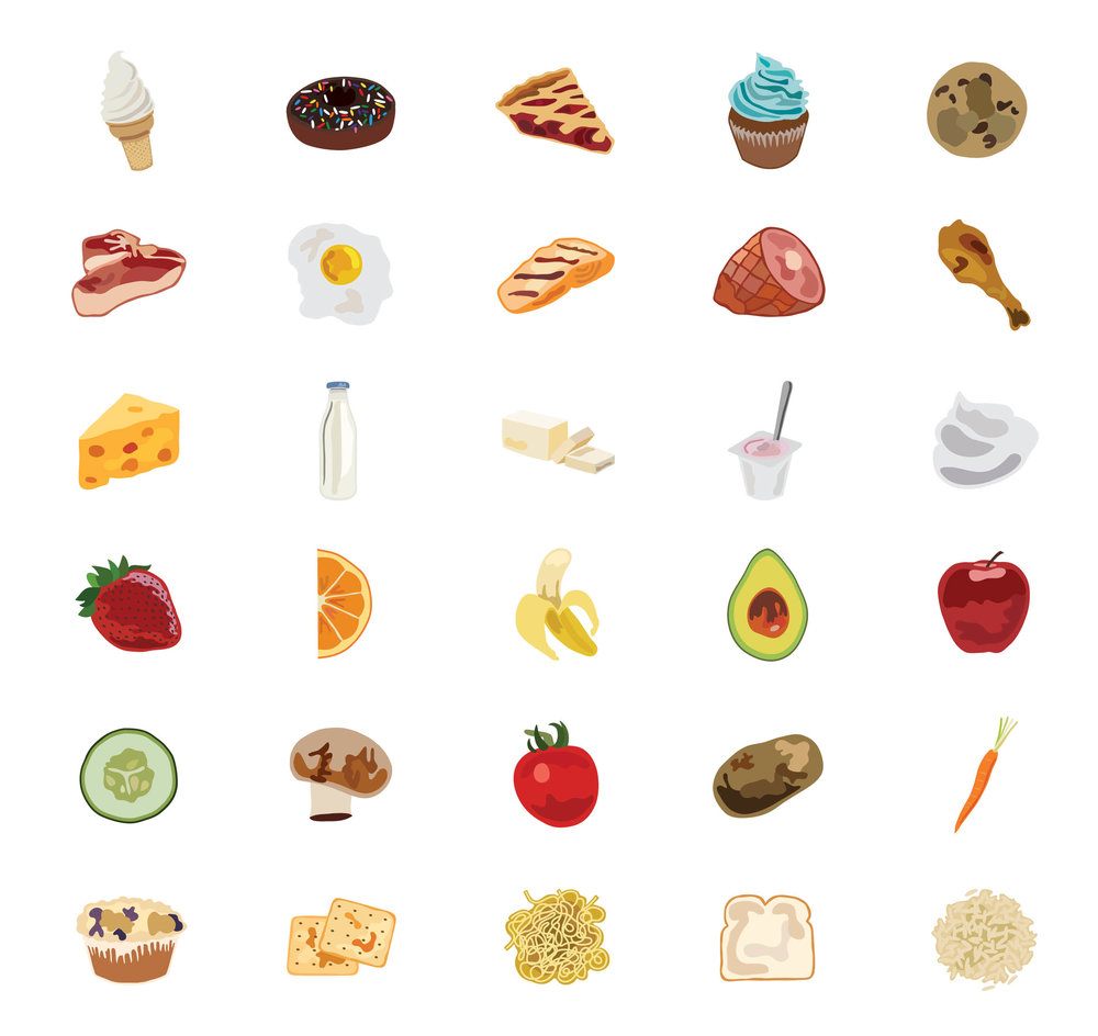 All 25 food icons that were used in the series