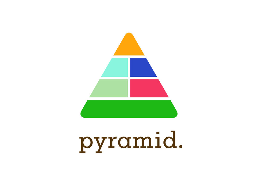 The logo created literally depicts the series because my inspiration came from the actual food pyramid. Each food group is color coordinated to the book of that group.
