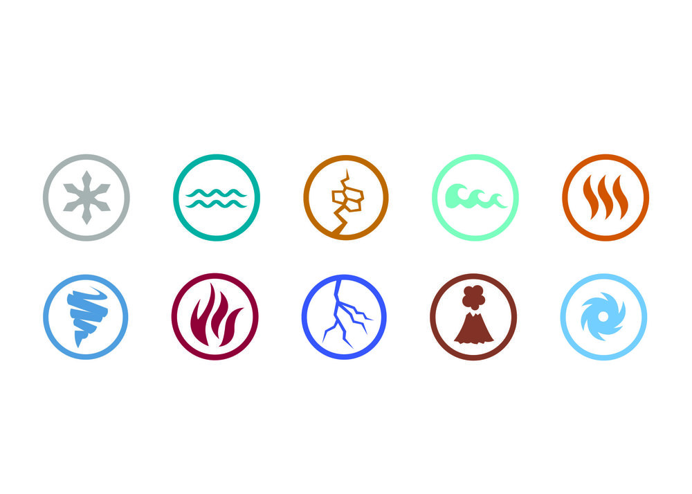 The 10 icons created for the series. Top 5: Blizzard, Flood, Earthquake, Tsunami, Heatwave. Bottom 5: Tornado, Wildfire, Lightning, Volcano, Hurricane.