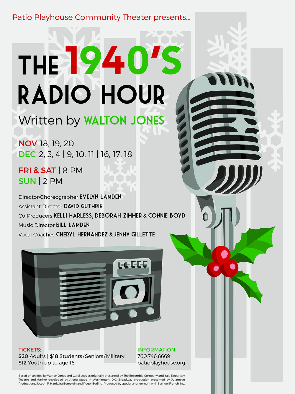 """The 1940's Radio Hour"" musical poster designed for Patio Playhouse"