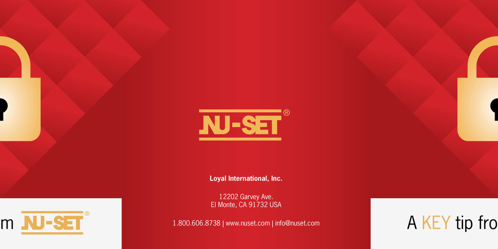 """How the card was printed and opened. Nu-Set loved the idea of """"unlocking"""" the lock, so we continued with this design element."""