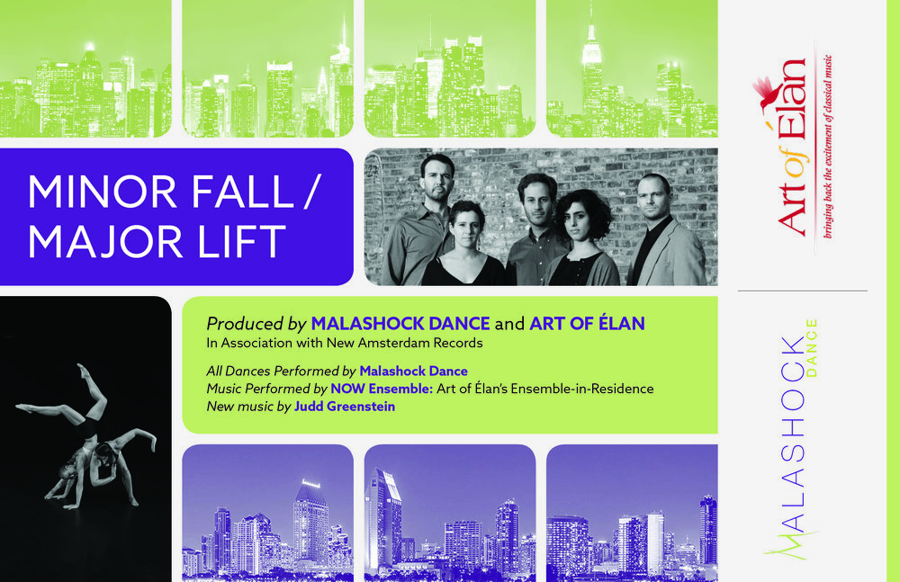 Postcard for Minor Fall/Major Lift | June 2017. This collaborative performance features San Diego's Malashock dancers and New York's Art of Elan musicians. Inspiration was pulled from this by featuring both city's skylines.
