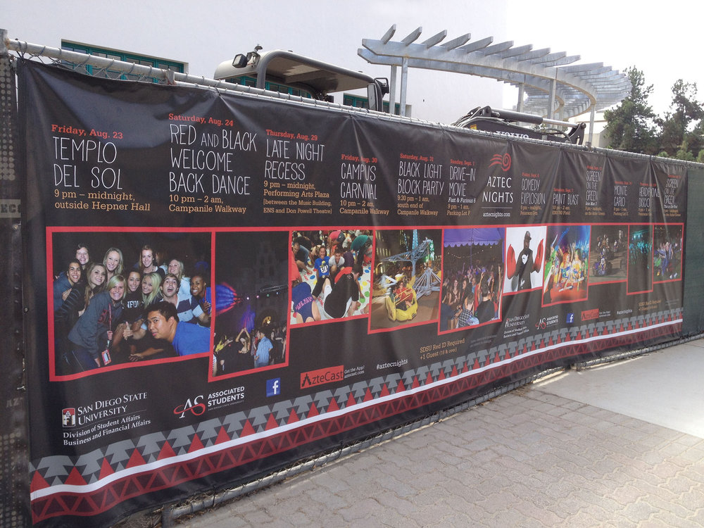 SDSU designers adapted my design to a large format banner they hung in front of construction