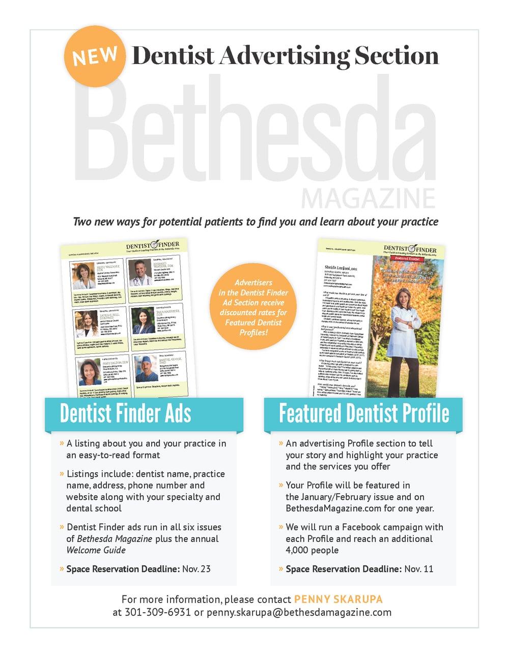 Sell Sheet |  Bethesda Magazine Dentist Finder