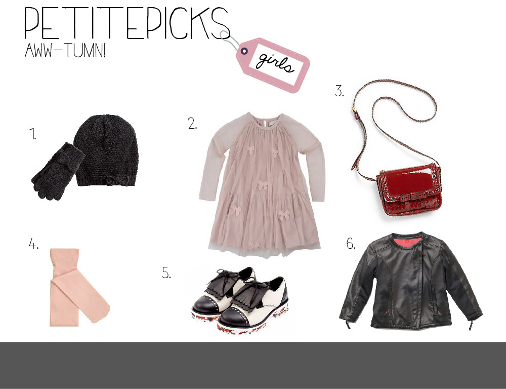 GIRLS: 1.   H&M Knit Hat  ,   H&M   Gloves with a Bow   2.   Stella McCartney   Misty Dress   3.   Burberry Girl's   Patent Leather Crossbody Bag   4.   TicTacToe   Microfiber Tight   5.   Simonetta Fringed Patent Leather Brogues   6.   CHaLK Italian Super Soft Lamb Leather Jacket