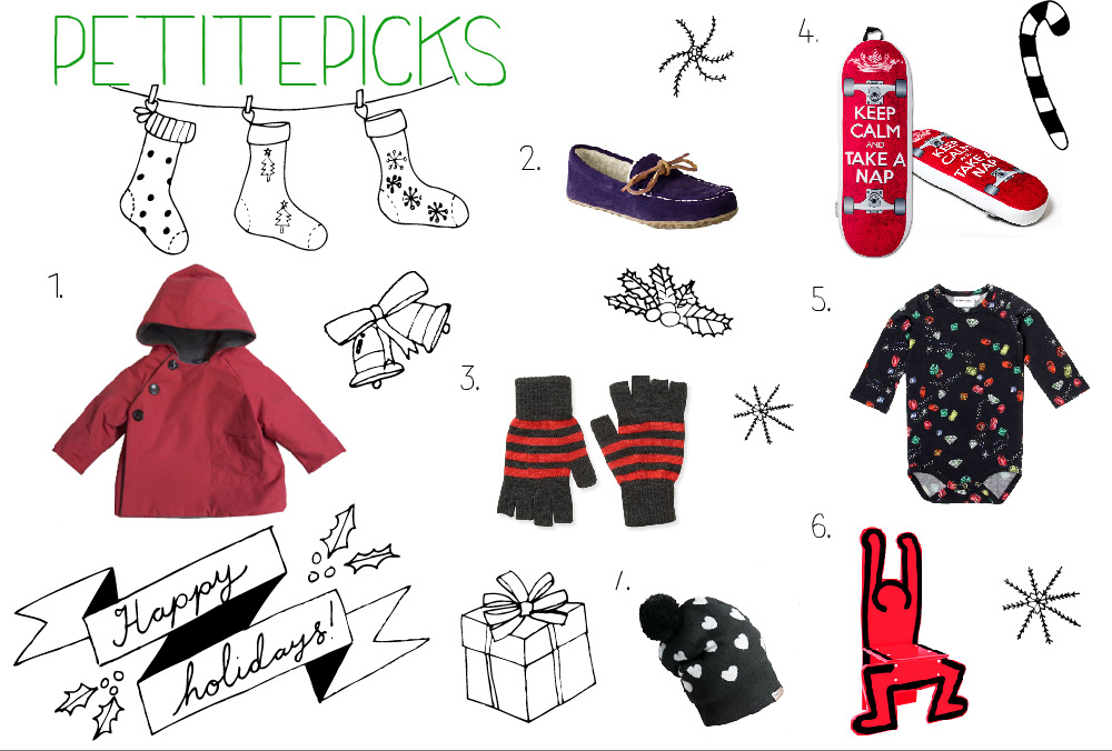 Wish List: 1. Makie Gasa Red Jacket 2. Land's Ends Kids' Suede Moc Slippers 3. Aeropostale Fingerless Gloves 4. The Board Pillow 5. Mini Rodini Jewel LS Body Black 6. Keith Haring Chair  7. Burberry Heart Design Cashmere Beanie