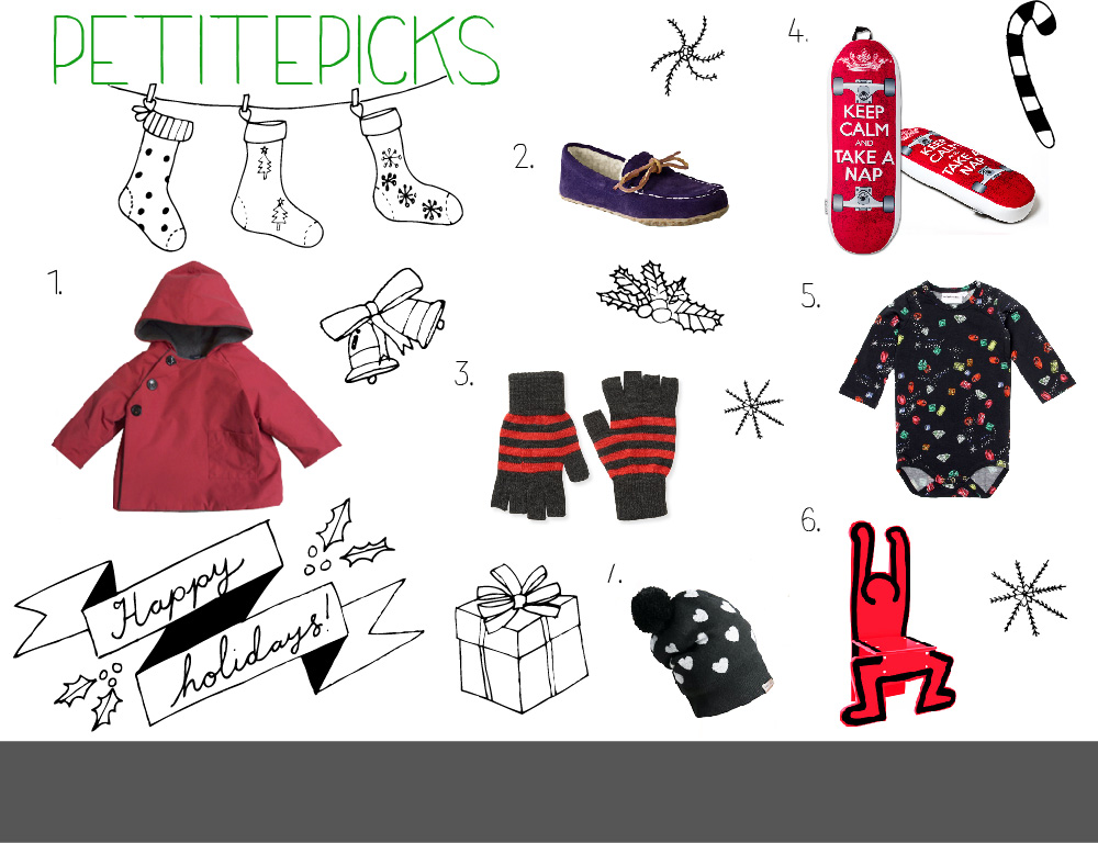 1.   Makie Gasa Red Jacket   2.   Land's Ends Kids' Suede Moc Slippers   3   .   Aeropostale Fingerless Gloves   4.  The Board Pillow  5.   Mini Rodini   Jewel LS Body Black  6.  Keith Haring Chair  7.   Burberry Heart Design Cashmere Beanie