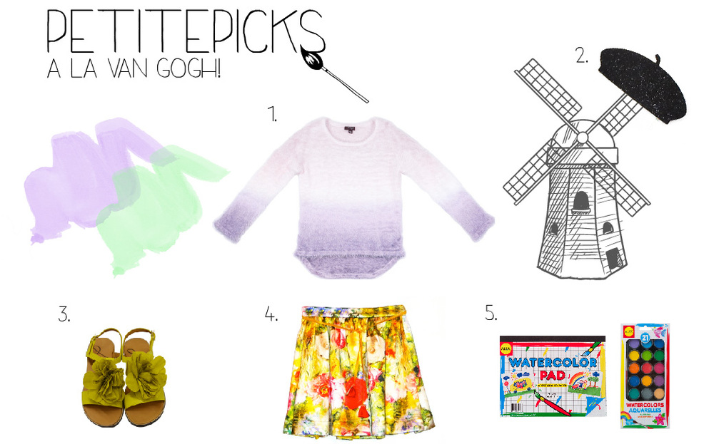 1. Imoga Anita-Lavender-Ombre 2. Little Lids Darren Wool Felt Belt 3. Lanvin Yellow Flower Sandal 4. Alivia Simone Floral Skirt 5. Alex Brands Watercolor Pad; Alex Brands Aquarelles