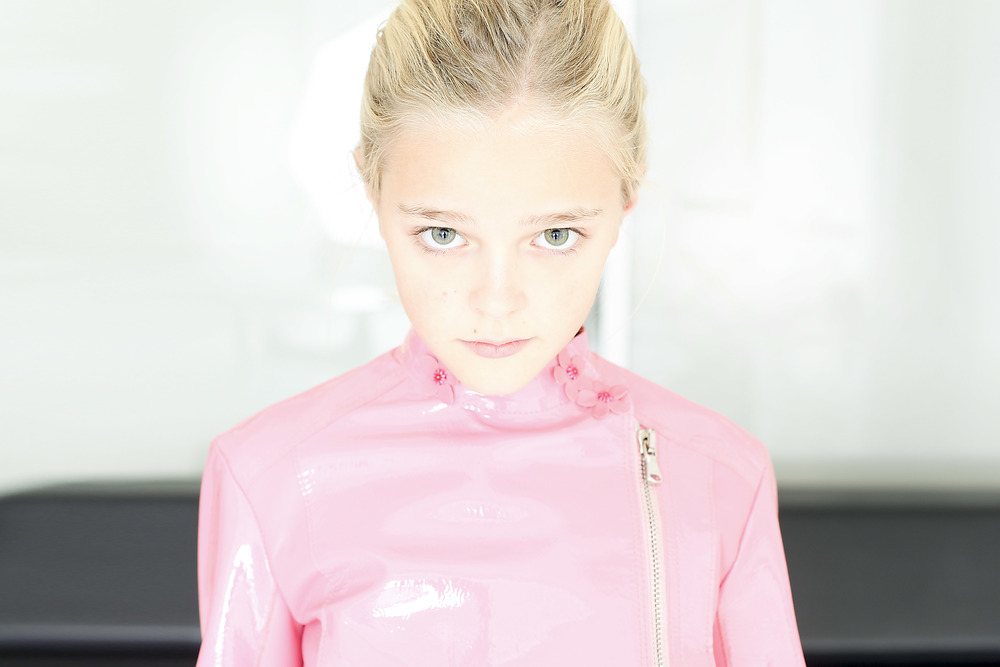 Violet In Pink Leather Moto Jacket by Bonnie Young | Photograph by Lee Clower