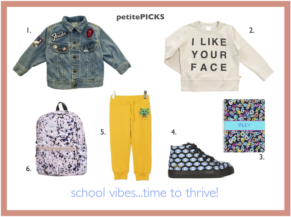 1. Hey Babe Denim Patchwork Jacket 2. Tiny Cottons Sweatshirt 3. Garnet Hill Personalized Notebook 4. AKid High Tops 5. Mini Rodini Cat Yellow Sweatpants 6. State Bag Rose Splatter Backpack