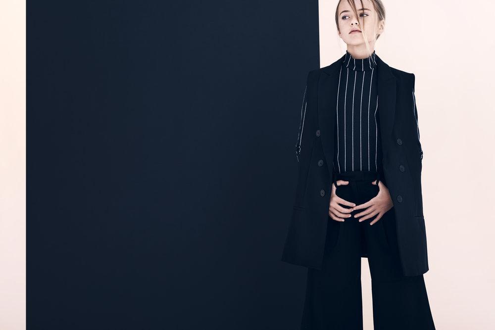 Kristina Pimenova in Zara Vest & Turtleneck and Pants by Molo