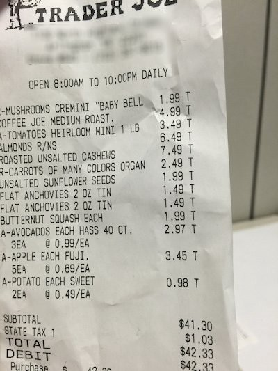 Source: Nicole Dieker  Image of zoomed in grocery receipt from Trader Joe's.