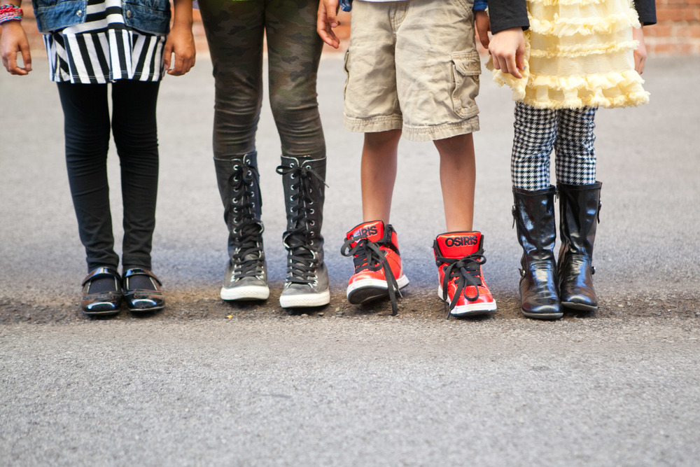 Kids with cool shoes