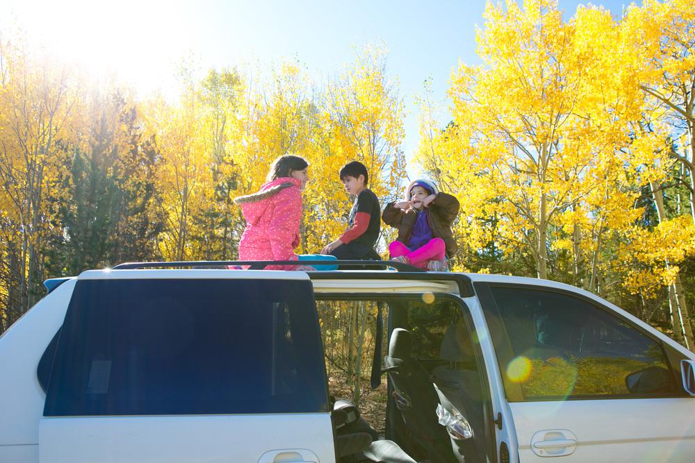 Kids on top of vans in Aspen forrest