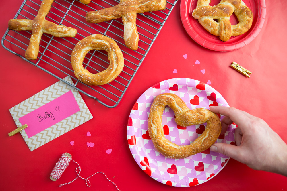 Heart shaped homemade soft pretzels