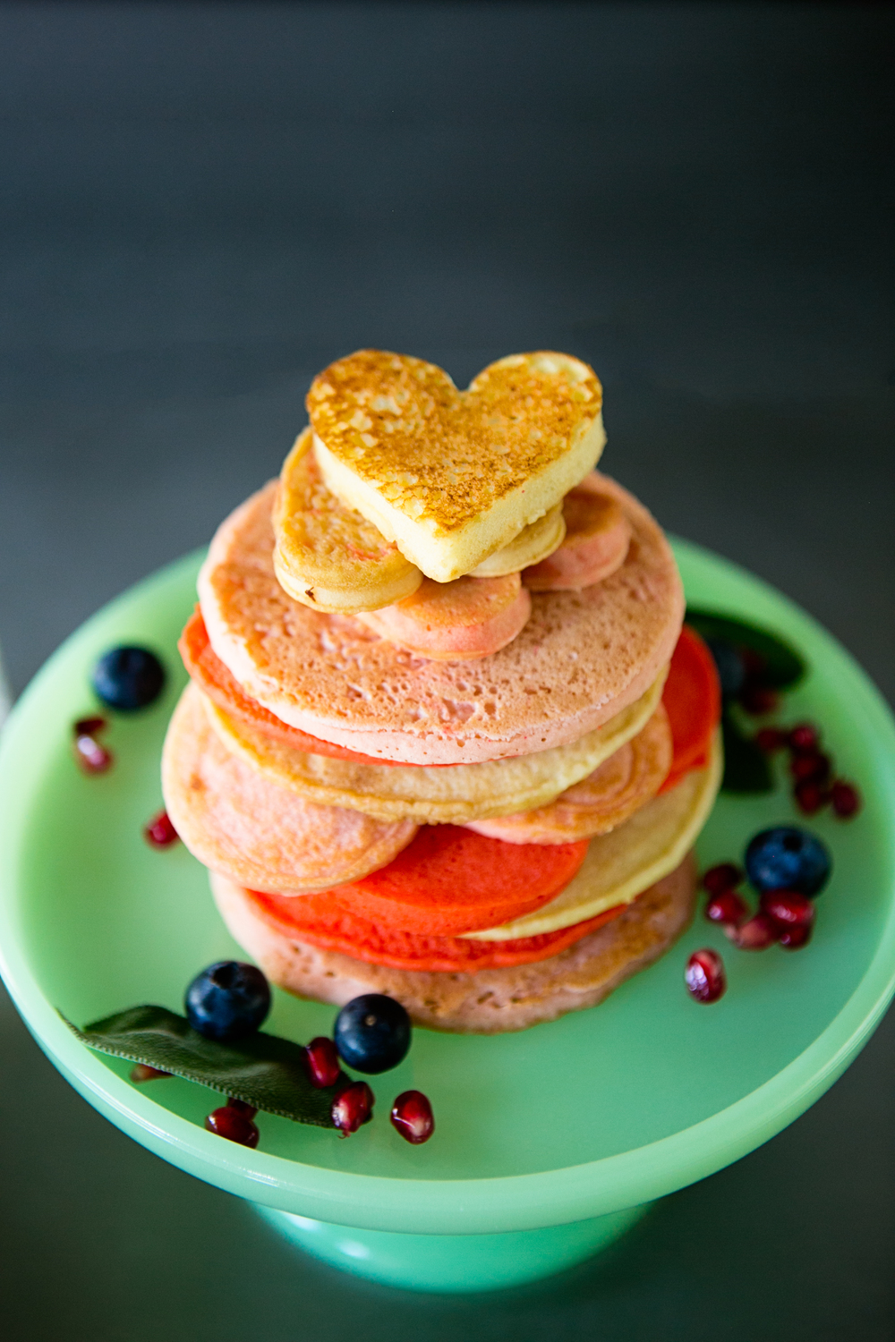 heart shaped pancake stack