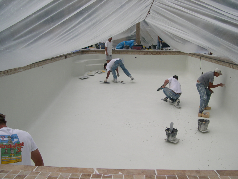 Plastering Under a Tent