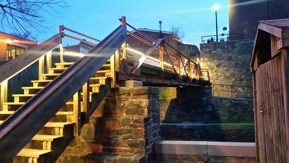 temporary lights on Potomac street pedestrian bridge.
