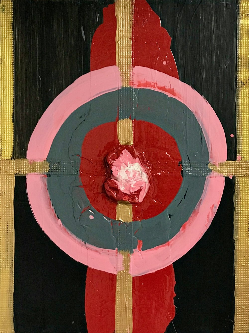 """ Pink and Red Target"" 48"" x 36"""