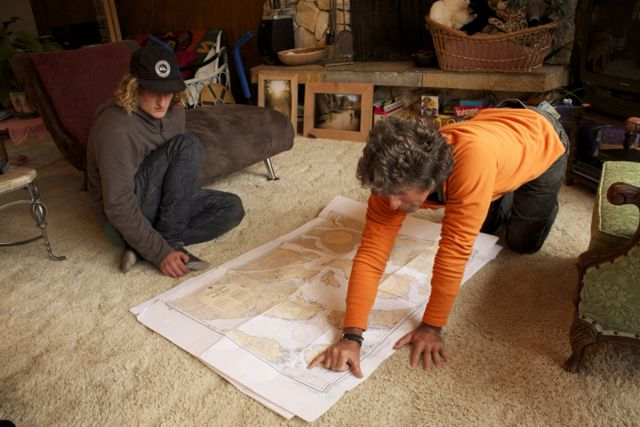 Jack showing Jazzy the deph charts around Otter Channel