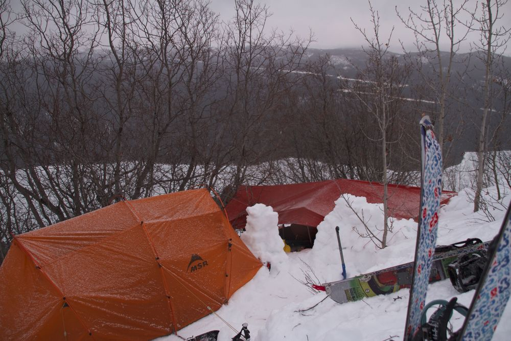 Camping across from Imperial Metals Red Chris Mine.