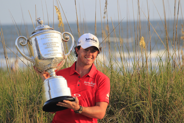 Rory McIlroy poses with the Wanamaker Trophy following his win in the 2012 US PGA Championship. Photo Eoin Clarke/www.golffile.ie