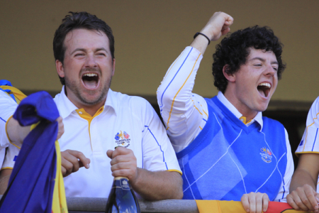 Graeme McDowell and Rory McIlroy celebrate at Celtic Manor - Picture Manus O'Reilly/www.golffile.ie