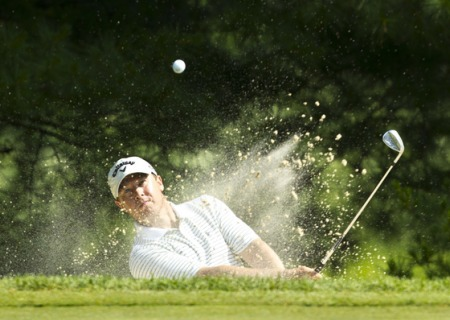 Chris Devlin hits from the bunker during the 2012 U.S. Open Sectional Qualifying at Springfield Country Club in Ohio on Monday (Copyright USGA/Matt Sullivan)