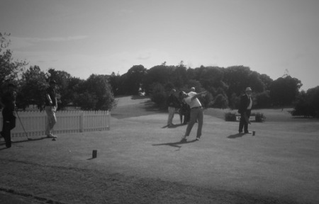 Home favourite Dessie Morgan drives off the 10th in Saturday's second round.
