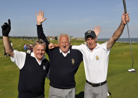 Waterford captain JJ Ryan (centre) celebrates victory in the FBD Barton Cup with Frank Phelan (left) and Johnny Fanning after they had won their match on the 18th green at Corballis. Picture by Pat Cashman