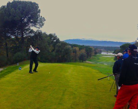 David Higgins drives at the 13th on the Stadium Course at PGA Catalunya Resort in the fifth round of the European Tour Qualifying School final stage. He shot a 72nd to share 22nd place with the top 25 and ties after Thursday's sixth round earning tour cards for 2013.