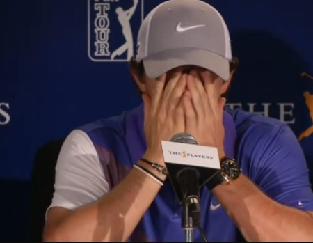 Rory McIlroy rubs his eyes before his media conference at Sawgrass on Wednesday.