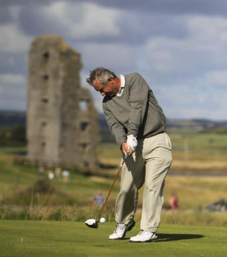 Arthur Pierse (Tipperary) on the 13th tee during the South of Ireland Amateur Open Championship at Lahinch. Picture: Thos Caffrey / www.golffile.ie