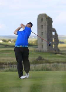 Richard Bridges (Stackstown) hits on the 13th on day three of the South of Ireland Amateur Open Championship at Lahinch Picture: Thos Caffrey / www.golffile.ie