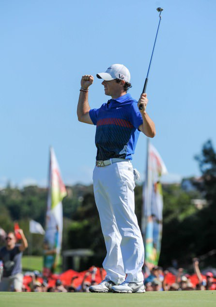 Winner alright. Rory McIlroy celebrates his winning putt at Royal Sydney . Picture by Jayne Russell/ OneAsia.asia