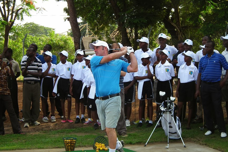 Paul McGinley gives a clinic at Achiomota Golf Club